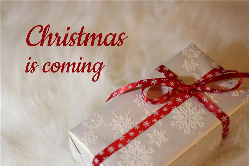 Christmas is coming - gift with red ribbon