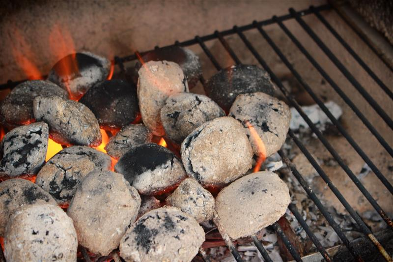 Hot coals on the grill