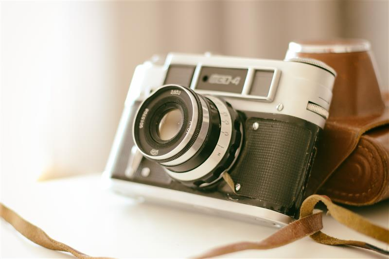 Old camera with brown case