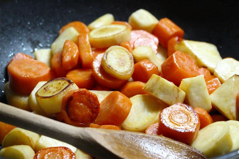 Roasted carrots and parsley