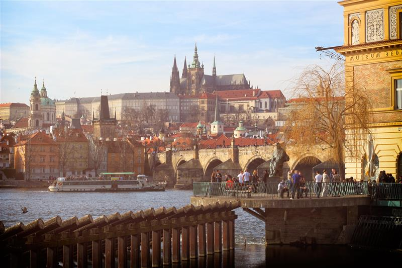 View of Prague Castle and Charles Bridge in spring