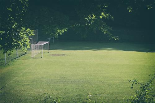 Football field with a goal